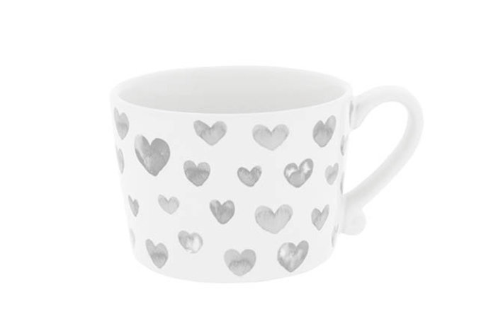 Bastion Collections Bastion Collections Cup White Hearts In Watercolor Grey