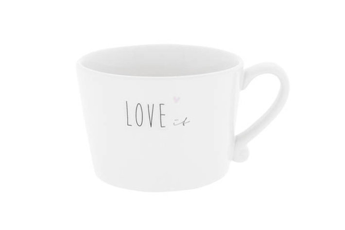 Bastion Collections Bastion Collections Cup White Love It In Black & Heart Rose