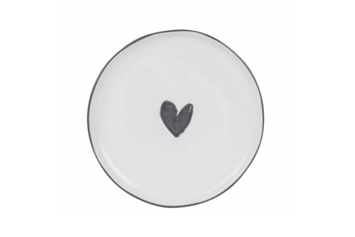 Bastion Collections Bastion Collections Dessert Plate 19cm White/Heart in black