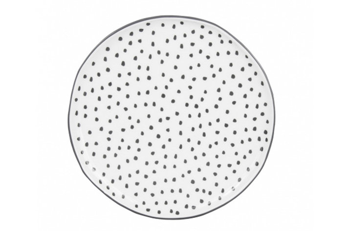 Bastion Collections Bastion Collections desert plate white dots in grey