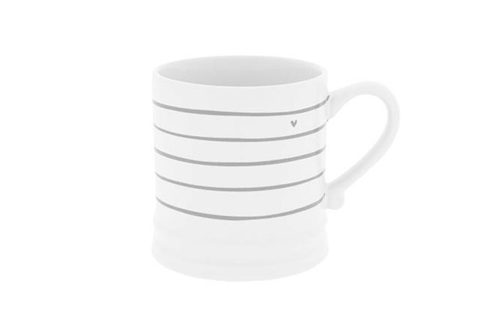 Bastion Collections Bastion Collections mug white little stripes and heart in grey