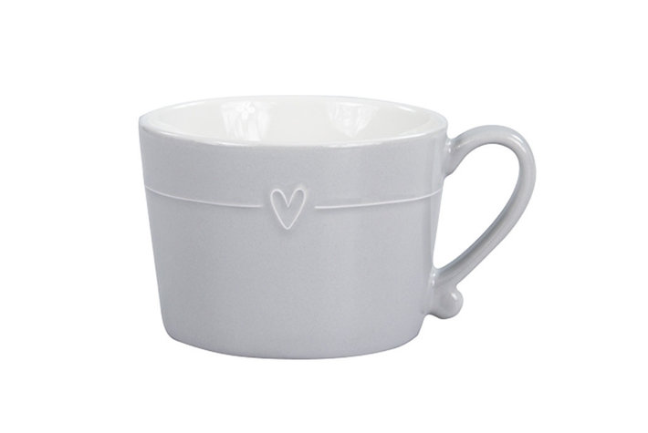 Bastion Collections Bastion Collections mug grey with line heart in white