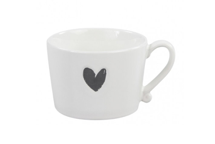 Bastion Collections Bastion collections mug white heart in black