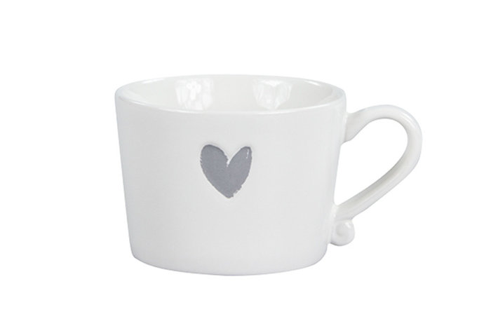 Bastion Collections Bastion collections mug white heart in grey