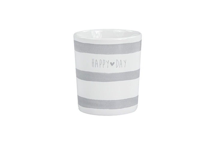 Bastion Collections Bastion collections mug white stripes happy day in grey