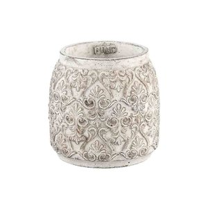 PTMD floralstone gold cement round pot s