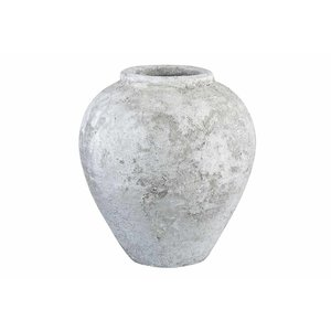 PTMD blane white ceramic vase round small border