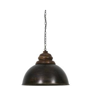 Light & Living Hanglamp leia zwart zink bruin