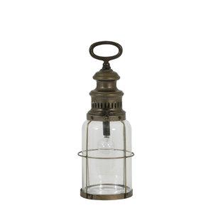 Tafellamp roti M  lantaarn glas koper+lamp
