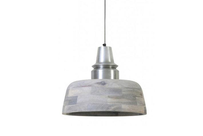 Light en Living Light & Living Hanglamp hout grijs met oud zilveren kop