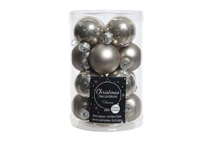 Kerstbal 3,5cm naturel linnen
