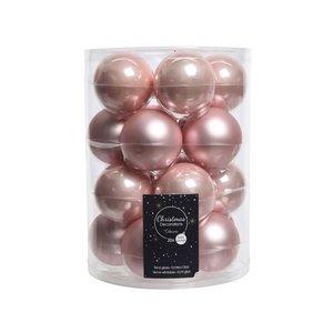 Kerstballenset glas 6cm poederroze