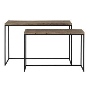 Sidetable 120-40cm metaal zwart hout maat L