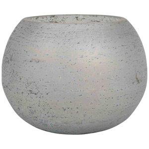 Glass Cala Grey Tealight Round S