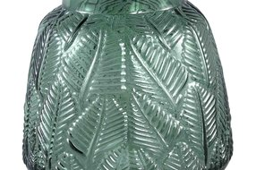 PTMD Cary Green Glass Vase Leaves Round S