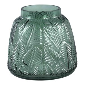 Cary Green Glass Vase Leaves Round S