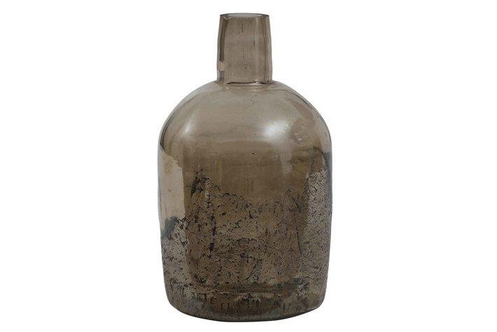 PTMD Cate Brown Glass Vase Bottle Shape L