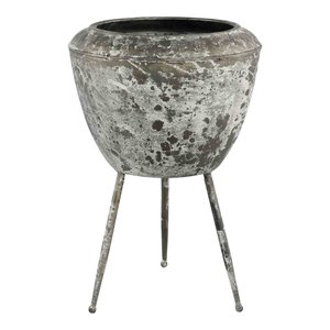 Daymian Grey Iron Pot On Foot  S