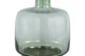 PTMD Jaira green glass vase gold base  M