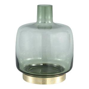 Jaira green glass vase gold base  M
