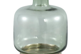 PTMD Jaira Green Glass Vase Gold Base S