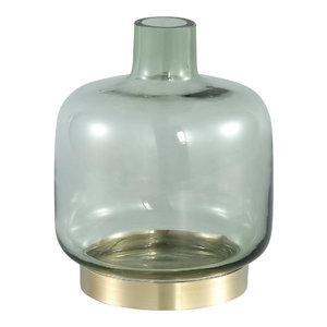 Jaira Green Glass Vase Gold Base S
