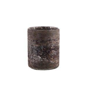 Melt Brown Melange Round Glass Vase S