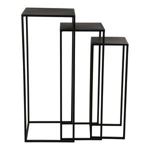 Mae black iron plant table square set of 3
