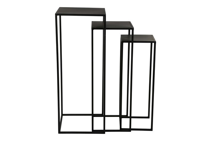 PTMD Mae Black Iron Plant Table Square Set Of 3