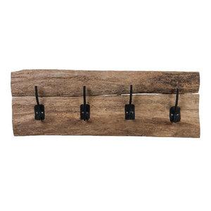 Coat rack wood 4 hooks