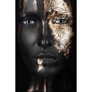 MondiArt Schilderij gezicht goud 2