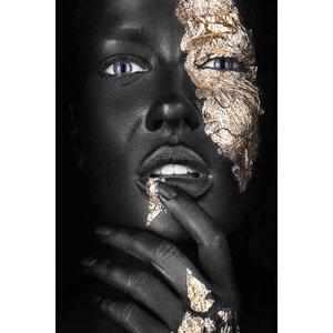MondiArt Glasschilderij gezicht goud