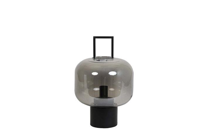 Light en Living Tablelamp Ø29,5x46 cm ARTUROS glass smoke grey+matt black