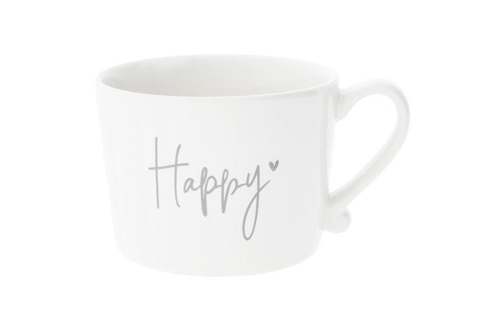 Bastion Collections Bastion Collections Cup white Happy in Grey 10x8x7cm RJ/CUP 013 GR