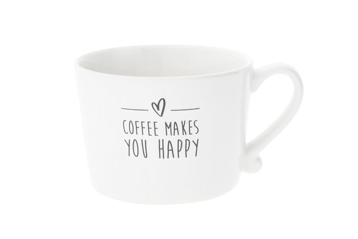 Bastion Collections Bastion Collections Cup white Coffee makes you happy in Black