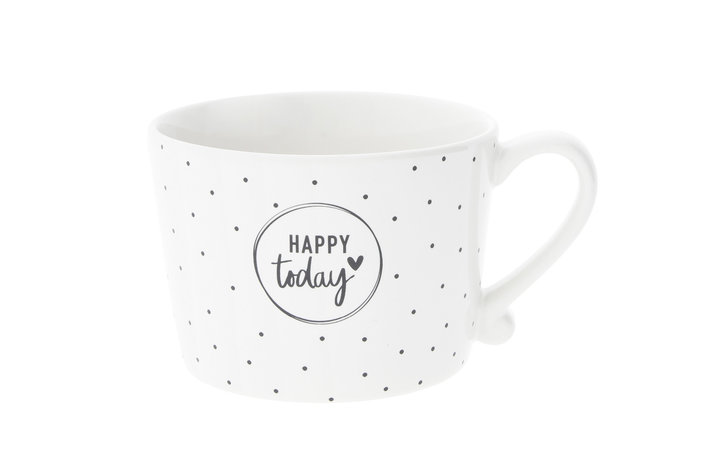 Bastion Collections Bastion Collections Cup white / Dots & Happy today in Black