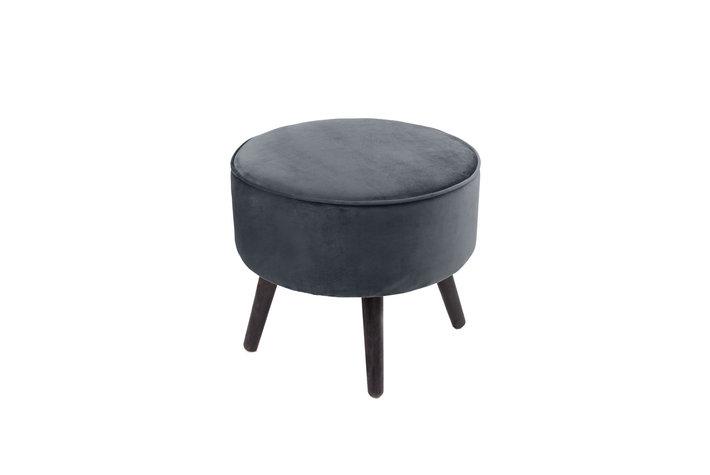Joker/Home society Footstool tess velvet grijs