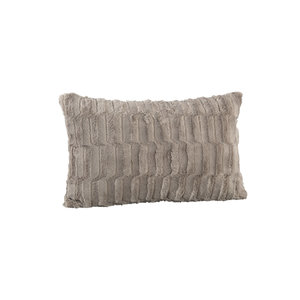 PMTD Denzy Taupe faux fur cushion rectangle