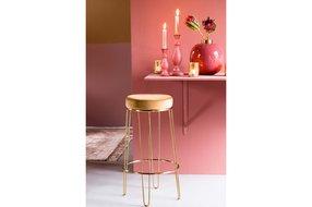 Light en Living Light & Living Barstool Alice velvet caramel+gold