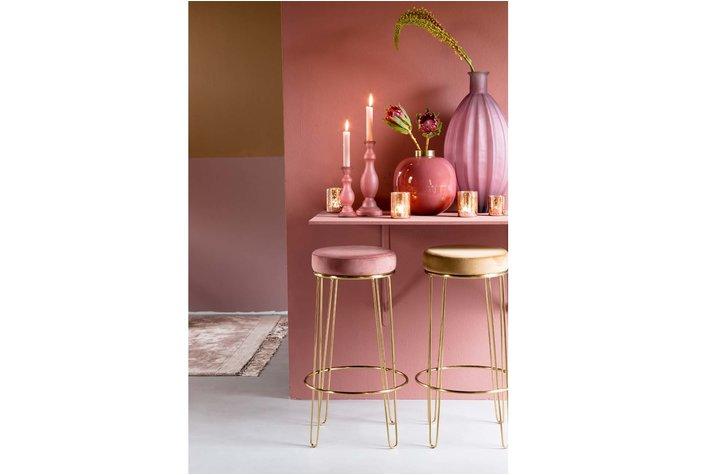Light en Living Light & Living Barstool Alice velvet old pink+gold