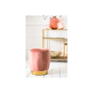 Light & Living Poef Ø41x48,5 cm SCARLETT velvet old pink+gold