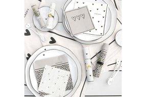 Bastion Collections Bastion Collections Breakfast Plate White/little heart in grey 23cm