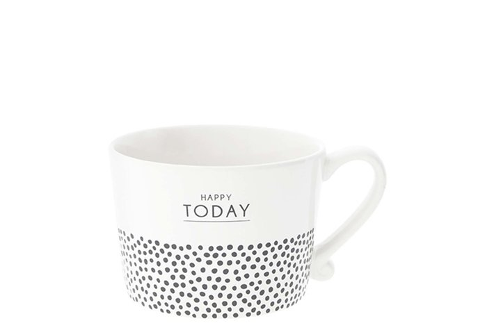 Bastion Collections Bastion Collections Cup White Happy Today & dots in Black10x8x7cm