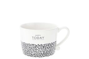 Bastion Collections Bastion Collections Cup White Happy Today & leopard  in Black10x8x7cm