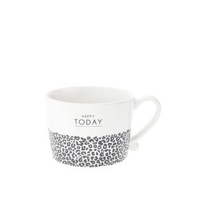 Bastion Collections Cup White Happy Today & leopard  in Black10x8x7cm