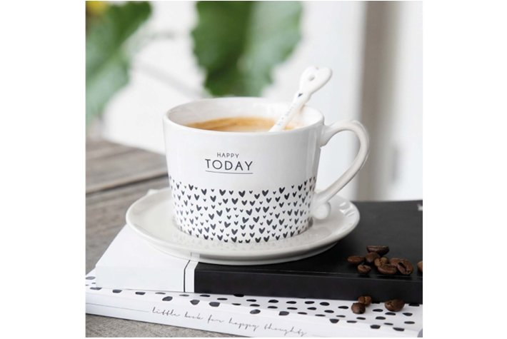 Bastion Collections Bastion Collections Cup White Love Today & hearts  in Black10x8x7cm