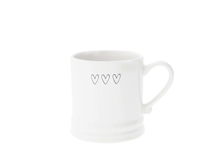 Bastion Collections Bastion Collections Mug White/3 hearts in Black 8x7 cm