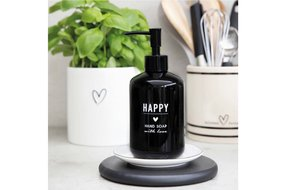 Bastion Collections Bastion Collections Soap Dispenser black 18x8cm / text in white