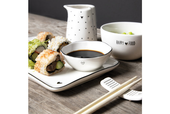 Bastion Collections Bastion Collections Sushi Plate with Heart/edge in Grey 22x1,5cm