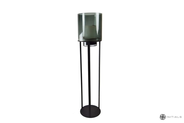 Haans lifestyle Haans stand iron frame 80cm + candleholder smoke glass 35cm